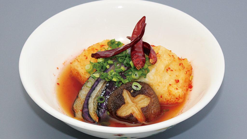 揚豆腐の辛味ソース